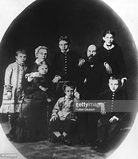 Vladimir Ilich Lenin as a boy with his family in his birthplace Simbirsk in 1879 Young Vladimir is seated on the lower right | Location Simbirsk...