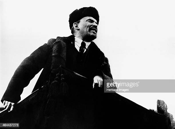 Vladimir Ilich Lenin Russian Bolshevik revolutionary leader speaking from a rostrum 1917 Lenin became leader of the Bolshevik faction of the Russian...