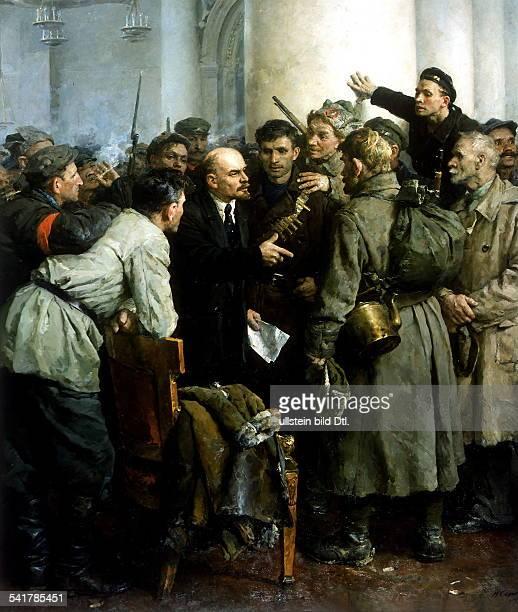 Vladimir Ilyich Lenin Russian politician talking to armed revolutionaries in the Smolny Institute headquarters of the Military Revolutionary...