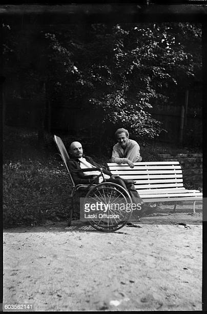 Vladimir Ilyich Ulyanov Lenin head of government of the Soviet Union with his doctor N Popov in Gorki in the summer of 1923 Photograph supposedly...