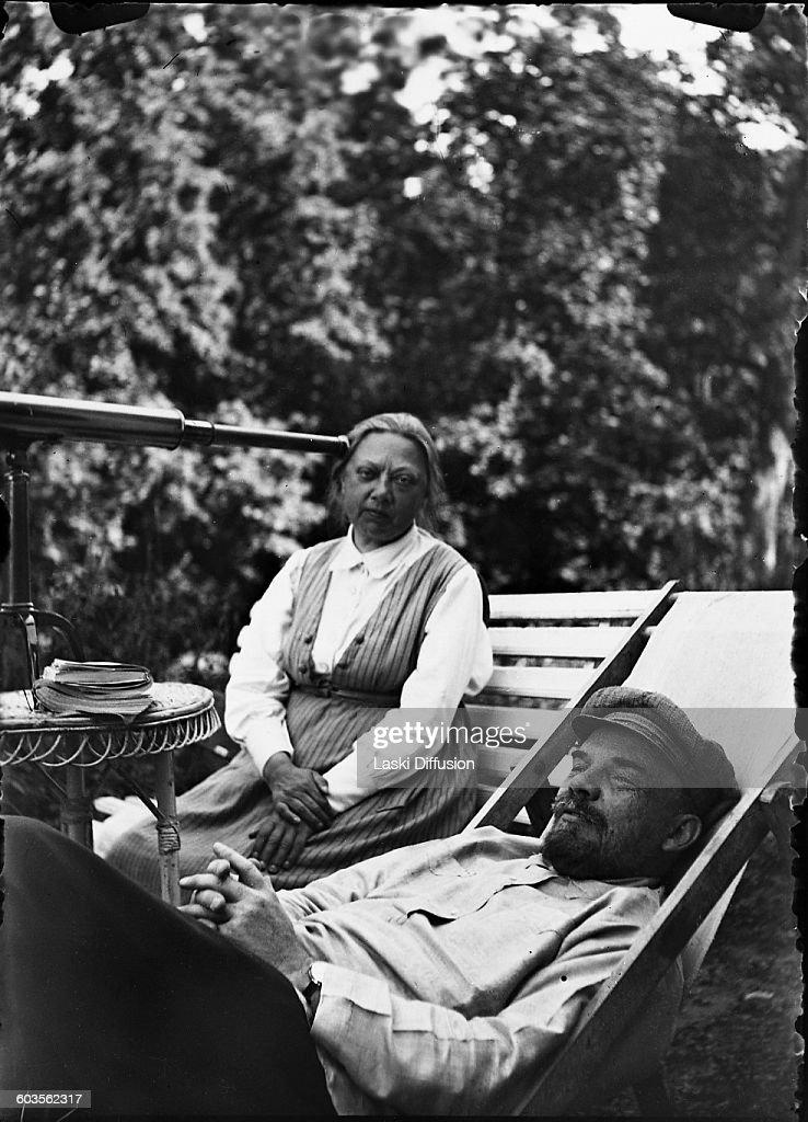 Vladimir Ilyich Ulyanov Lenin, head of government of the Soviet Union, with his wife Nadezhda Krupskaya in Gorki, in September 1922. Photograph supposedly taken by Vladimir Lenin's sister Maria Ilyinichna Ulyanova.
