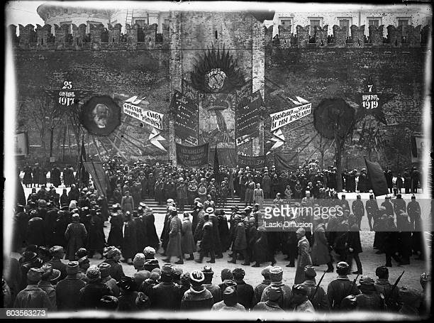Vladimir Ilyich Ulyanov Lenin in the Red Square during the 2nd anniversary celebrations of the Great October Revolution Lenin is watching a parade of...