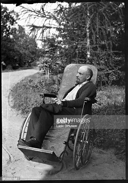 Vladimir Ilyich Ulyanov Lenin in the wheelchair in the summer 1923 in Gorki Soviet Union