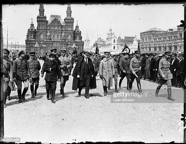 Vladimir Ilyich Ulyanov Lenin inspects the Vsevobuch troops in the Red Square Moscow Russia on 25th May 1919 Photographer N Smirnow