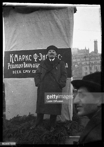 Vladimir Ilyich Ulyanov Lenin making a speech at the unveling of a memorial to K Marx and F Engels in Voskresenskaya Square Moscow 7th November 1918