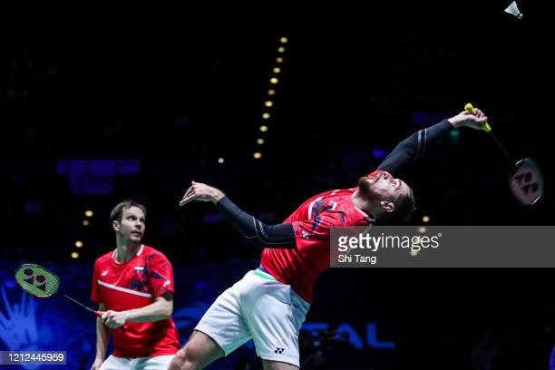 Vladimir Ivanov and Ivan Sozonov of Russia compete in the Men's Doubles semi finals match against Hiroyuki Endo and Yuta Watanabe of Japan on day...
