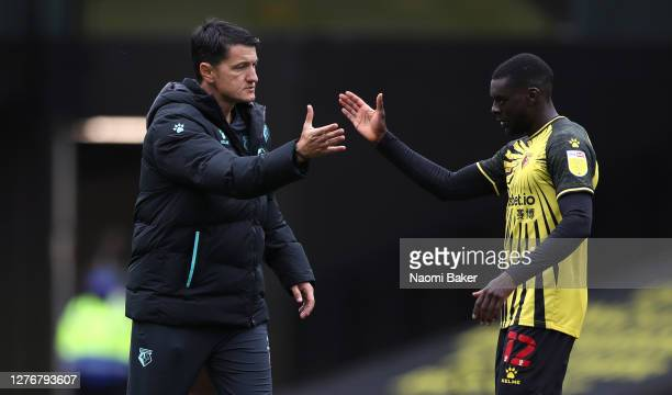 Vladimir Ivic Manager of Watford embraces Ken Sema of Watford after the Sky Bet Championship match between Watford and Luton Town at Vicarage Road on...