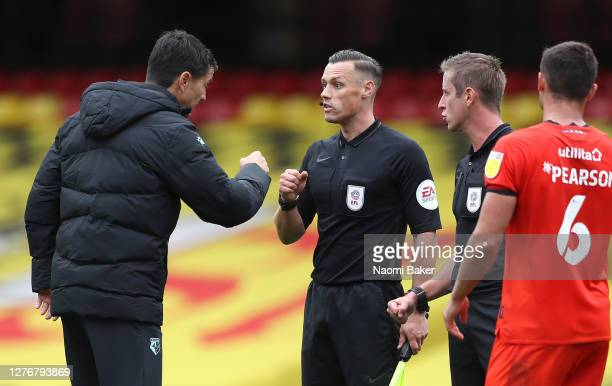Vladimir Ivic Manager of Watford speaks to the match officials after the Sky Bet Championship match between Watford and Luton Town at Vicarage Road...