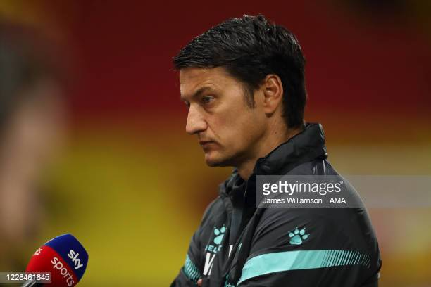 Vladimir Ivic the manager / head coach of Watford talking to Sky Sports during the Sky Bet Championship match between Watford and Middlesbrough at...