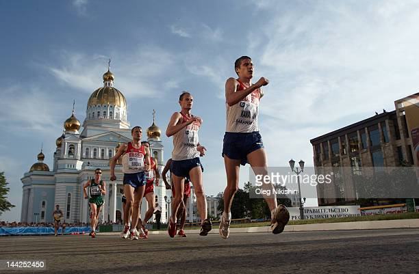 Vladimir Kanaykin Andrey Krivov and Valery Borchin of Russia in action during the competition of men's 20km IAAF World Race Walking Cup 2012 on May...