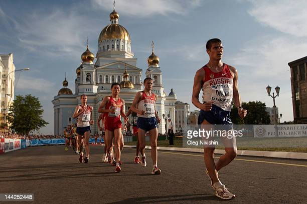 Vladimir Kanaykin Valery Borchin of Russia and Zhen Wang of China in action during the competition of men's 20km IAAF World Race Walking Cup 2012 on...