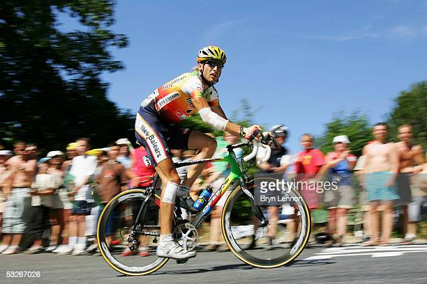 Vladimir Karpets of Russia and Illes Balears rides on the final climb during Stage 18 of the 92nd Tour de France between Albi and Mende July 21 2005...