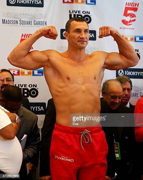 Vladimir Klitschko makes weight during the weight in on April 24 2015 at Madison Square Garden in New York City