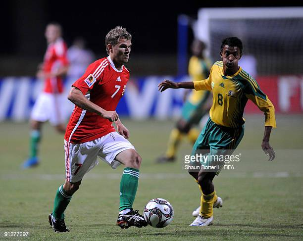 Vladimir Koman of Hungary and Sameehg Doutie of South Africa during the FIFA U20 World Cup Group F match between Hungary and South Africa at the...