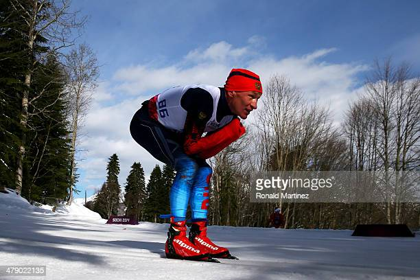 Vladimir Kononov of Russia competes in the Men's Cross Country 10km Free – Standing on day nine of the Sochi 2014 Paralympic Winter Games at Laura...