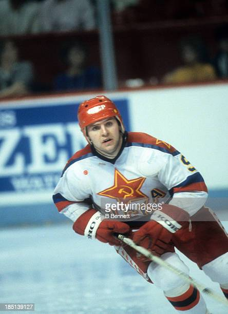 Vladimir Krutov of CSKA Moscow skates on the ice during the 1985-86 Super Series against the Montreal Canadiens on December 31, 1985 at the Montreal...