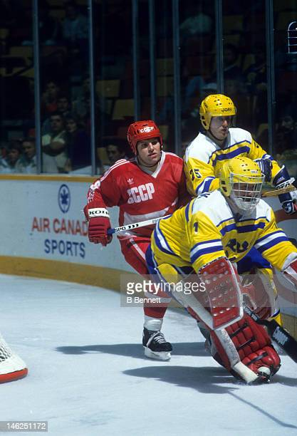 Vladimir Krutov of the Soviet Union pressures the goalie for Sweden during the 1987 Canada Cup on August 29, 1987 at the Olympic Saddledome in...
