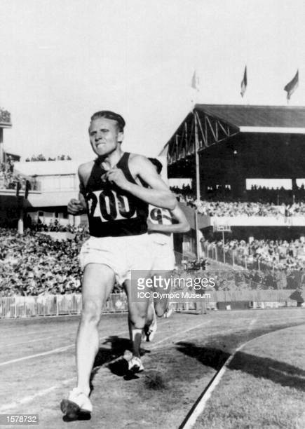 Vladimir Kuts of the Soviet Union at the Melbourne Olympic Games in 1956. Won both the 10,000 and 5,000 metres. This picture of the 10,000 metres...