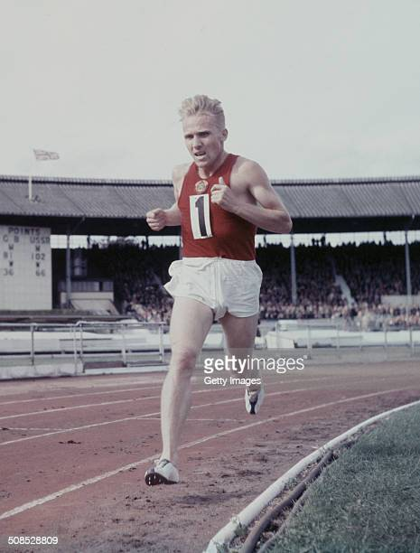 Vladimir Kuts of the Soviet Union running in the 5000 metres event during the GB v USSR match held on 24 August1957 at the White City StadiumLondon...