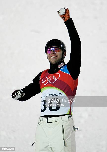 Vladimir Lebedev of Russia celebrates winning the bronze medal in Mens Freestyle Skiing Aerials Final on Day 13 of the 2006 Turin Winter Olympic...