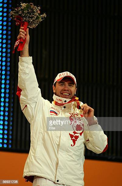 Vladimir Lebedev of Russia won the bronze medal in the men's aerials during the Medals Ceremony on Day 14 of the Turin 2006 Winter Olympic Games on...