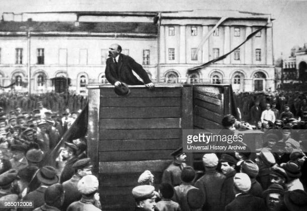 Vladimir Lenin addressing Red Army soldiers in Moscow who are being sent to the Western Front during The Russian Civil War 1920 This version of the...