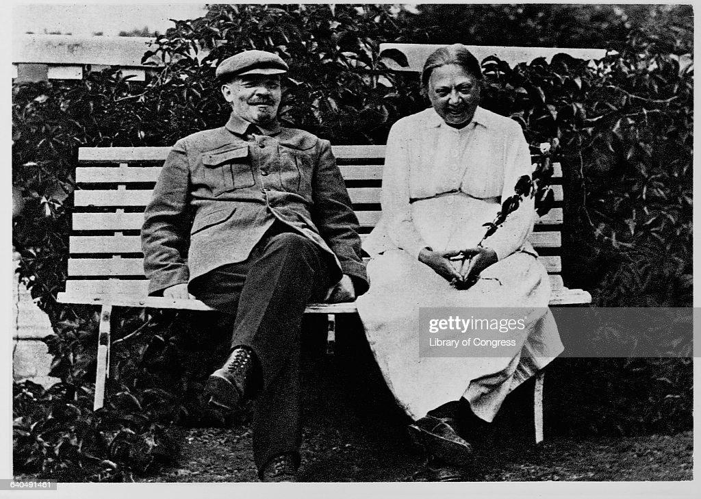 Vladimir Lenin and wife Nadezhda Krupskaya relax on a bench together in Gorki Park.