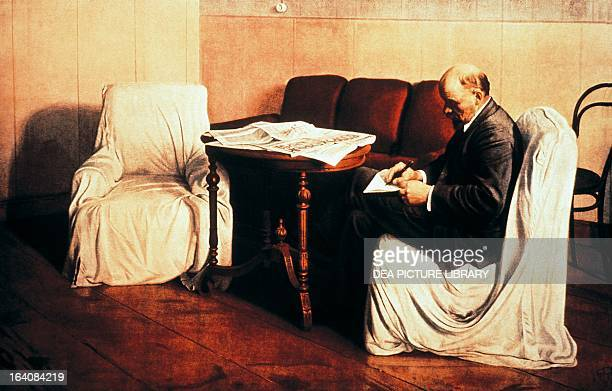 Vladimir Lenin at Smolny born Vladimir Ilyich Ulyanov Chairman of the Council of People's Commissars of the Soviet Union and then Premier of the USSR...