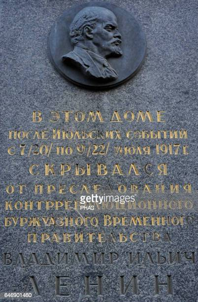 Vladimir Lenin Russian revolutionary and politician Plate next to the house of his wife Nadezhda Krupskaya at Sovetskaya where he lived Saint...