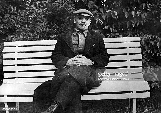 Vladimir Lenin seated on a bench Lenin was the Russian Communist leader who took power after the 1917 October Revolution