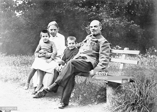 Vladimir Lenin with his wife Nadezhda Krupskaya with unidentified children | Location Near Moscow USSR