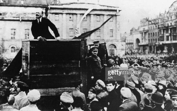 Vladimir Lénine et Léon Trotski à la Tribune lors de la Révolution Russe de 1917place Sverdlov à Moscou le 5 mai 1920 Russie