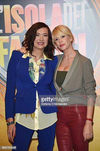 Vladimir Luxuria and Alessia Marcuzzi attend 'L'Isola Dei Famosi' photocall on January 26 2017 in Milan Italy