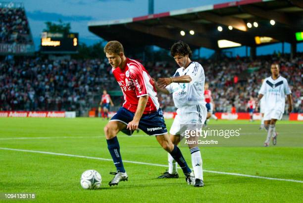 Vladimir MANCHEV and Jerome BONNISEL during the Ligue 1 championship match between Lille and Bordeaux on August 3 2002 in Lille France
