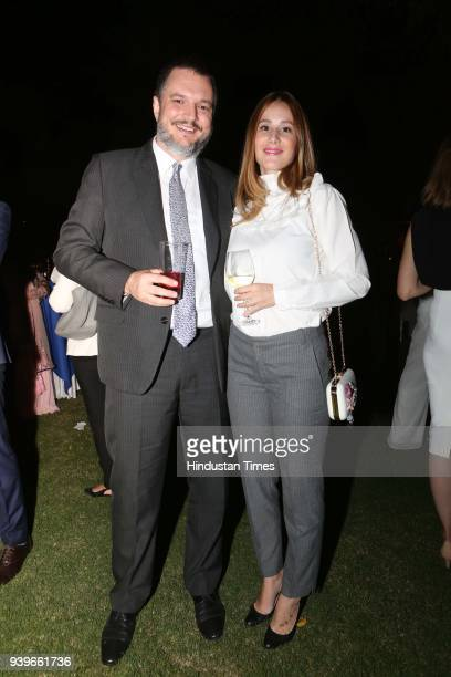 Vladimir Maric Ambassador Republic of Serbia and Jovana Maric during an evening to celebrate National Day of Greece to commemorate their 197th...