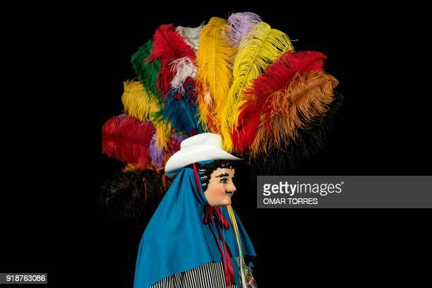 Vladimir Mejia poses in his costume for the carnival in Tlaxcala Mexico on February 13 2018 The satirical costumes and masks were originally...
