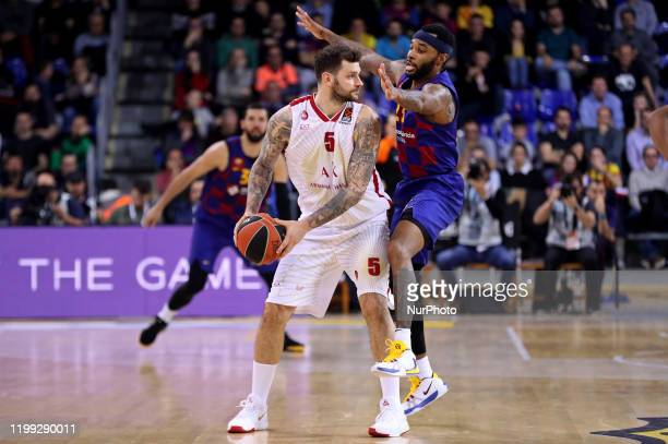 Vladimir Micov and Malcolm Delaney during the match between FC Barcelona and AX Armani Exchange Olimpia Milano corresponding to the week 24 of the...