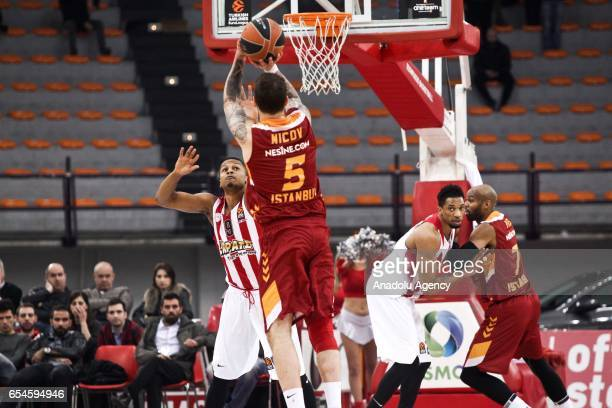 Vladimir Micov of Galatasaray Odeabank in action during the Turkish Airlines Euroleague Basketball match between Olympiacos Piraeus and Galatasaray...