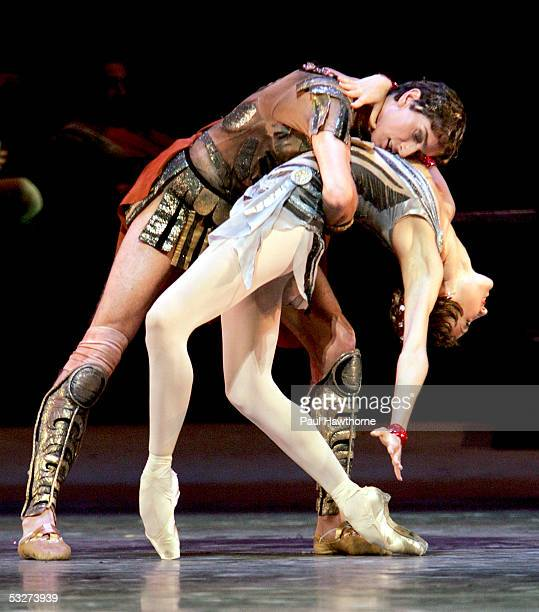 Vladimir Neporozhny and Katerina Shipulina perform during an open rehearsal of the Bolshoi Ballet's production of Spartacus at the Metropolitan Opera...