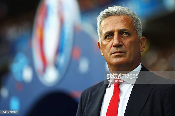Vladimir Petkovic head coach of Switzerland looks on prior to during the UEFA EURO 2016 Group A match between Switzerland and France at Stade...