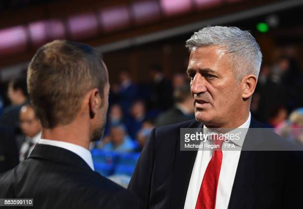 Vladimir Petkovic Manager of Switzerland speaks with a guest during the Final Draw for the 2018 FIFA World Cup Russia at the State Kremlin Palace on...