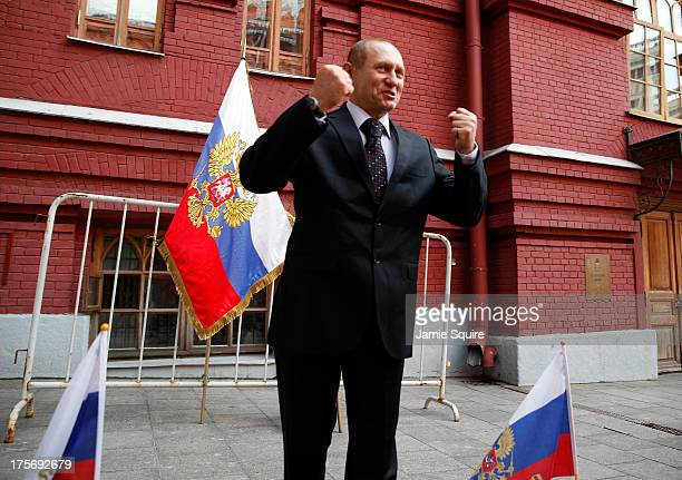 Vladimir Putin impersonator gestures outside the Iberian Gate and Chapel ahead of the 14th IAAF World Athletics Championships on August 6 2013 in...