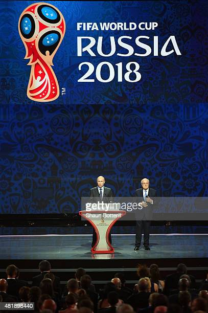 Vladimir Putin, President of Russia and FIFA President Joseph S. Blatter speak during the Preliminary Draw of the 2018 FIFA World Cup in Russia at...