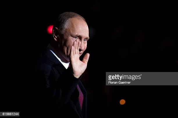 Vladimir Putin President of Russia arrives for the meeting of the Normandy Contact Group on October 19 2016 in Berlin Germany The Head of States of...