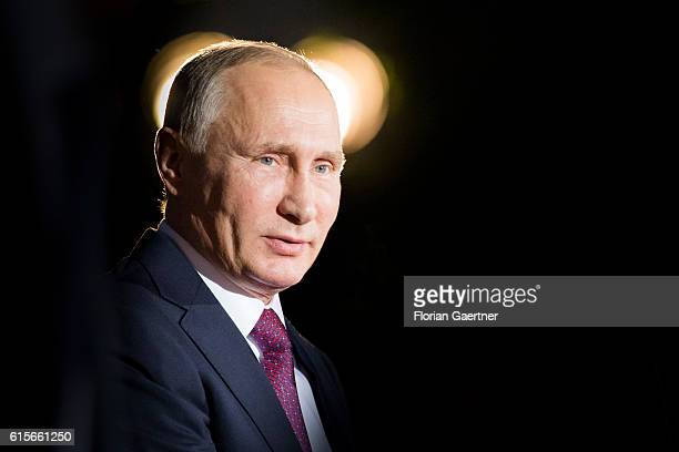 Vladimir Putin, President of Russia, arrives for the meeting of the Normandy Contact Group on October 19, 2016 in Berlin, Germany. The Head of States...