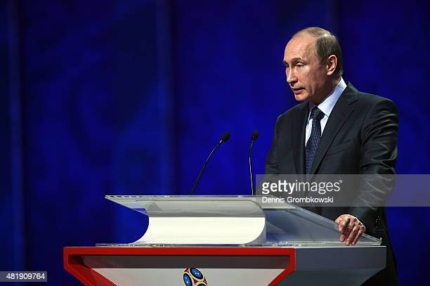 Vladimir Putin President of Russia attends the Preliminary Draw of the 2018 FIFA World Cup in Russia at The Konstantin Palace on July 25 2015 in...