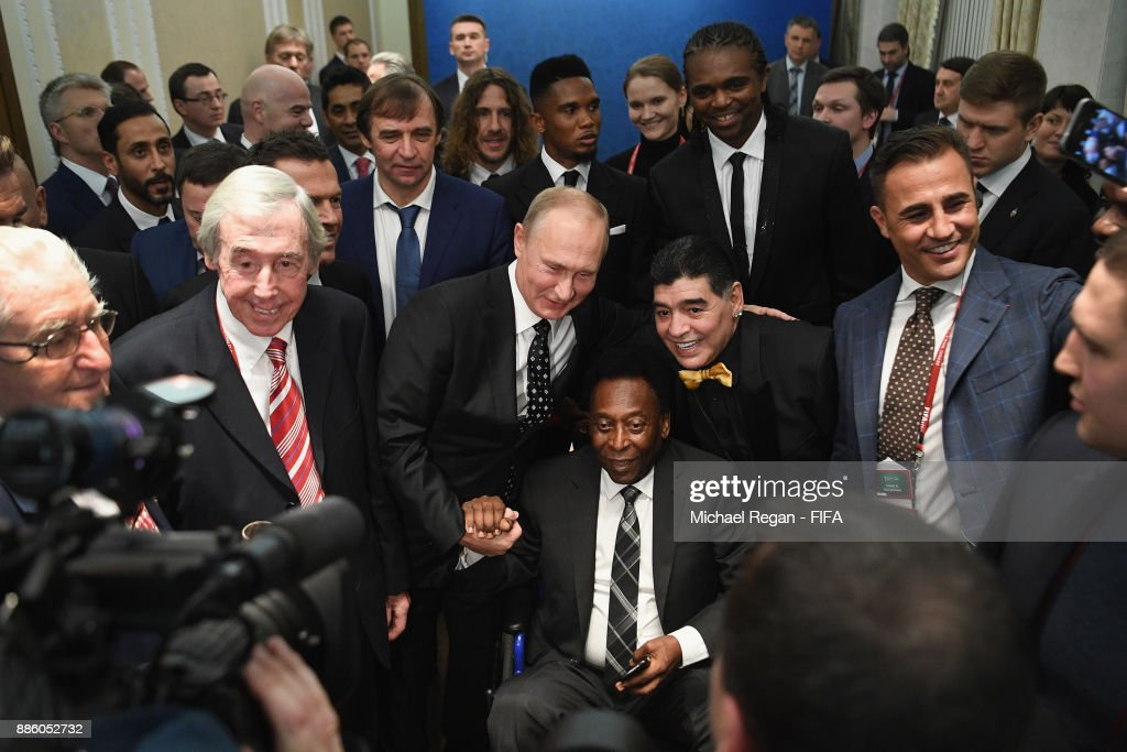 Vladimir Putin, President of Russia meets Gordon Banks, Maradonna, Pele and Fabio Cannavaro prior to the Final Draw for the 2018 FIFA World Cup Russia at the State Kremlin Palace on December 1, 2017 in Moscow, Russia.