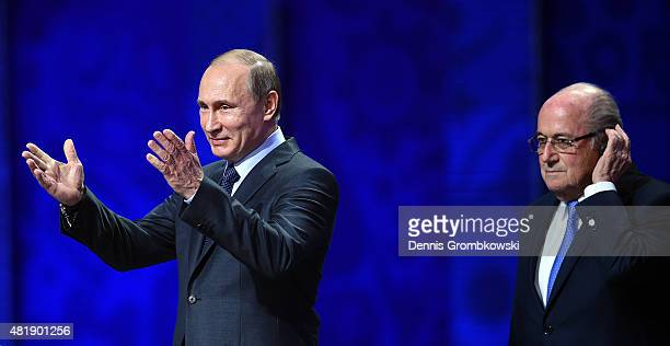 Vladimir Putin, President of Russia speaks as FIFA President Joseph S. Blatter looks on during the Preliminary Draw of the 2018 FIFA World Cup in...
