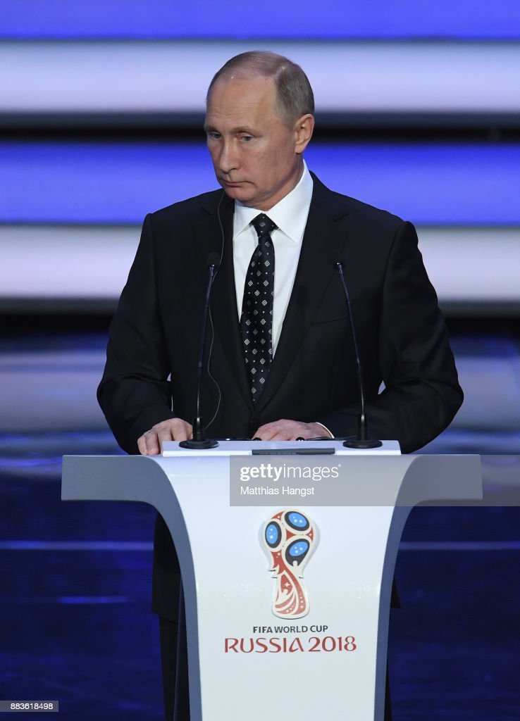 Vladimir Putin, President of Russia speaks during the Final Draw for the 2018 FIFA World Cup Russia at the State Kremlin Palace on December 1, 2017 in Moscow, Russia.
