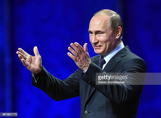 Vladimir Putin, President of Russia speaks during the Preliminary Draw of the 2018 FIFA World Cup in Russia at The Konstantin Palace on July 25, 2015...
